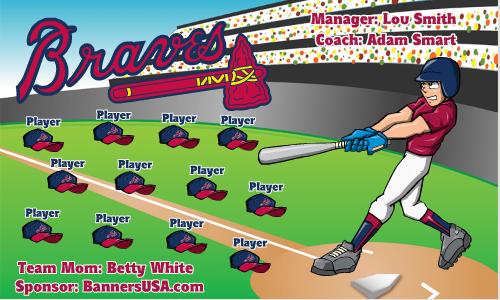 Braves Vinyl Baseball Team Banner - E-Z Order