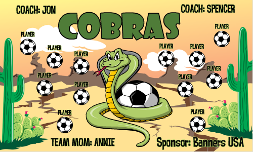 Cobras Vinyl Soccer Banner E-Z Order - Cobras