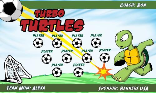 Turtles Turbo Fabric Soccer Banner E-Z Order