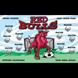 Bulls Red Vinyl Soccer Banner - Live Designer