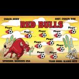 Bulls Red Fabric Soccer Banner - Live Designer