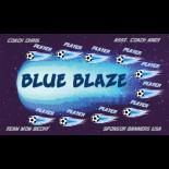 Blaze Blue Fabric Soccer Banner E-Z Order