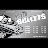Bullets Silver Vinyl Soccer Banner E-Z Order