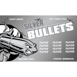 Bullets Silver Fabric Soccer Banner E-Z Order