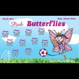 Butterflies Pink Fabric Soccer Banner E-Z Order