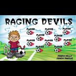 Devils Raging Vinyl Soccer Banner - E-Z Order