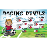 Devils Raging Fabric Soccer Banner - E-Z Order