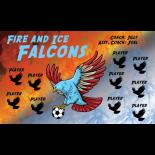 Falcons Fire Ice Vinyl Soccer Banner - E-Z Order