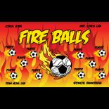 Fire Balls Vinyl Soccer Banner - E-Z Order