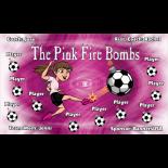 Fire Bombs Pink Vinyl Soccer Banner - E-Z Order