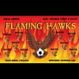 Hawks Flaming Fabric Soccer Banner - E-Z Order