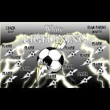 Lightning White Fabric Soccer Banner - E-Z Order