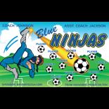 Ninjas Blue Fabric Soccer Banner - E-Z Order