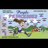 Princesses Purple Vinyl Soccer Banner - E-Z Order