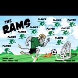 Rams Fabric Soccer Banner - E-Z Order