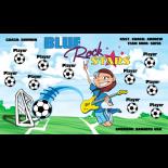 Rock Stars Blue Fabric Soccer Banner - E-Z Order