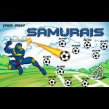 Samurais Fabric Soccer Banner - E-Z Order