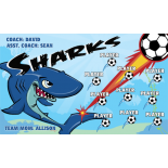 Sharks Vinyl Soccer Banner - E-Z Order