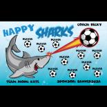 Sharks Happy Vinyl Soccer Banner - E-Z Order