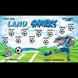 Sharks Land Vinyl Soccer Banner - E-Z Order