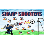 Sharp Shooters Fabric Soccer Banner - E-Z Order