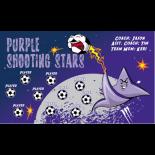 Stars Shooting Purple Fabric Soccer Banner - E-Z Order
