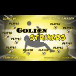 Strikers Golden Fabric Soccer Banner - E-Z Order
