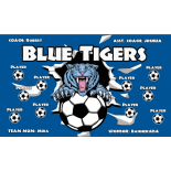 Tigers Blue Fabric Soccer Banner - E-Z Order