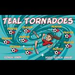 Tornadoes Teal Vinyl Soccer Banner - E-Z Order