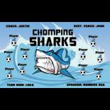 Sharks Chomping Fabric Soccer Banner - Live Designer