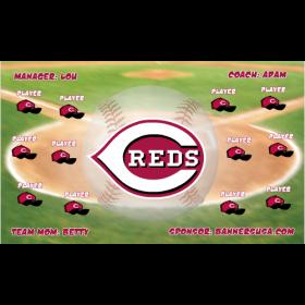 Reds Vinyl Baseball Team Banner E-Z Order
