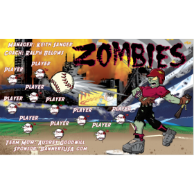 Zombies Vinyl Baseball Team Banner - E-Z Order