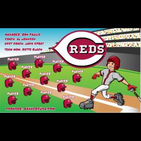 Reds Vinyl Baseball Team Banner - E-Z Order