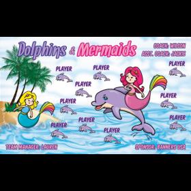 Dolphins and Mermaids Vinyl Soccer Banner E-Z Order