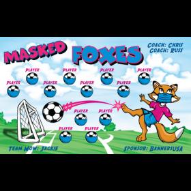 Masked Foxes Vinyl Soccer Banner E-Z Order