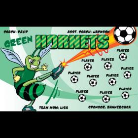 Hornets Green Fabric Soccer Banner E-Z Order