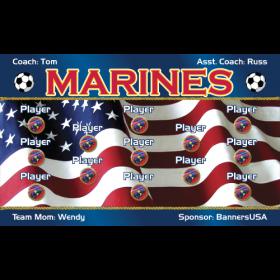 Marines Fabric Soccer Banner - E-Z Order