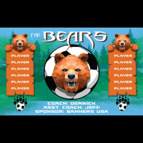 Bears Fabric Soccer Banner - E-Z Order