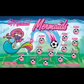 Masked Mermaids Fabric Soccer Banner E-Z Order