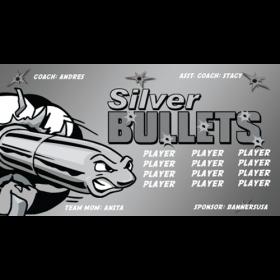 Bullets Silver Vinyl Soccer Banner - Live Designer