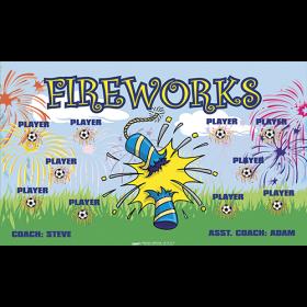 Fireworks Fabric Soccer Banner - Live Designer
