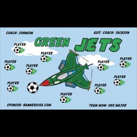 Jets Green Fabric Soccer Banner - Live Designer
