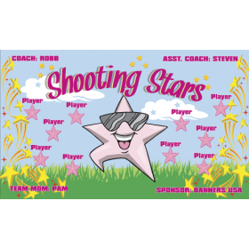 Stars Shooting Fabric Soccer Banner - Live Designer