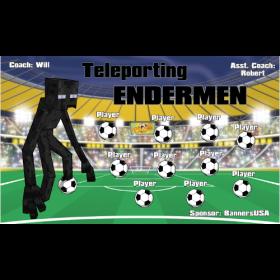 Endermen Teleporting Fabric Soccer Banner Live Designer