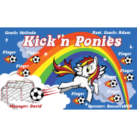 Ponies Kick N Fabric Soccer Banner E-Z Order