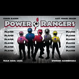 Power Rangers Fabric Soccer Banner Live Designer
