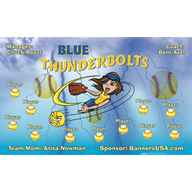 Blue Thunderbolts Softball Team Banner - Live Designer