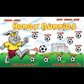 Bunnies Honey Vinyl Soccer Banner - Live Designer
