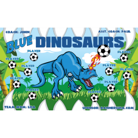 Dinosaurs Fabric Soccer Banner - Live Designer