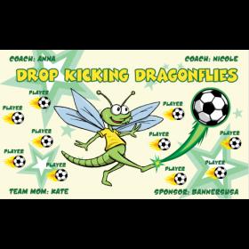 Dragonflies Drop Kicking Vinyl Soccer Banner - Live Designer